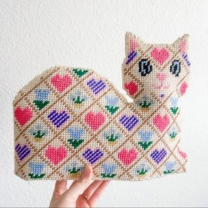 Woven knitted kitty cat hearts pink